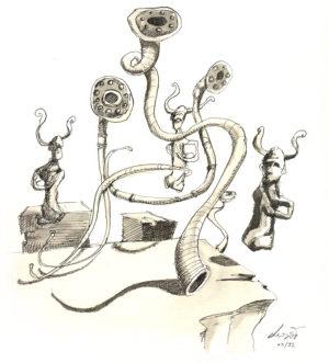 Instruments et statuettes au bord du vide